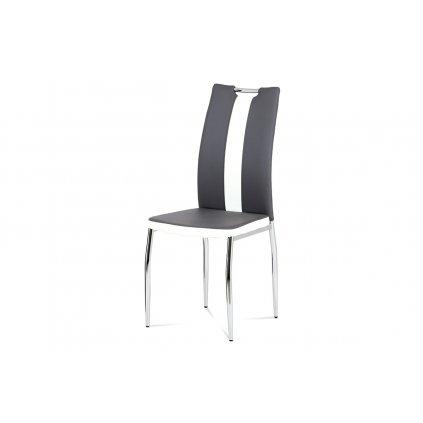 Jedálenská stolička koženka sivá + biela / chróm