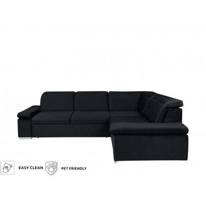 Rohová sedacia súprava: DARBY 2F.E.1,5BK (čierna)