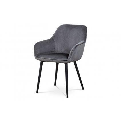 Jedálenská a konferenčné stoličky, poťah šedá menčestrová látka, kovové nohy - čierny lak