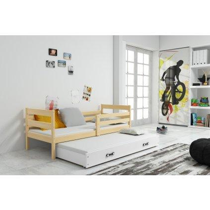 Detská posteľ Erik s prístelkou borovica (Farba zásuvky Grafit, Rozmer postele 190x80)