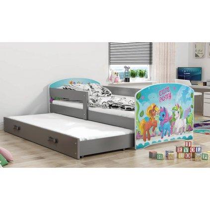 139702 detska postel s pristelkou luki grafit pony