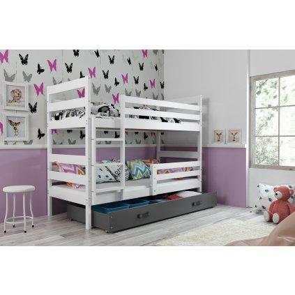 Poschodová posteľ Erik biela/grafit (Rozmer postele 200x90)