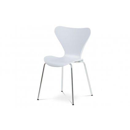 Jedálenská stolička, biely plast s imitáciou dreva / chróm