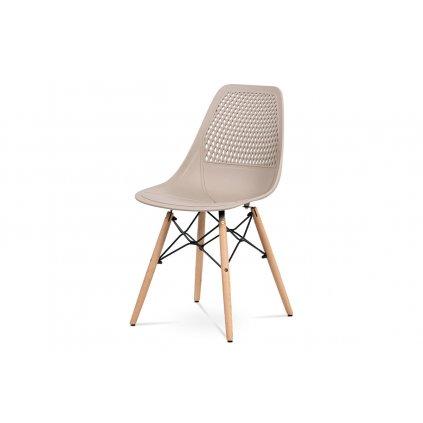 Jedálenská stolička - cappuccino plast, masív buk, prírodný odtieň, kov čierny matný lak