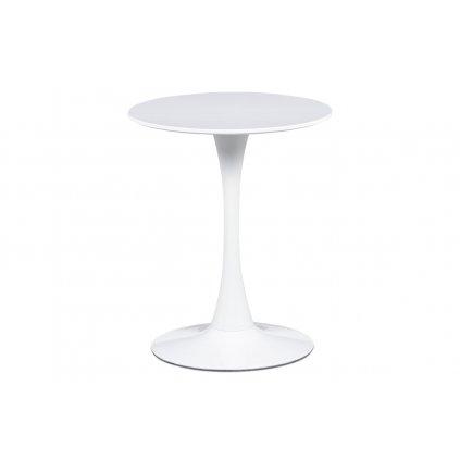 Jedálenský stôl pr.60x72 cm, biela matná MDF, kov biely vysoký lesk