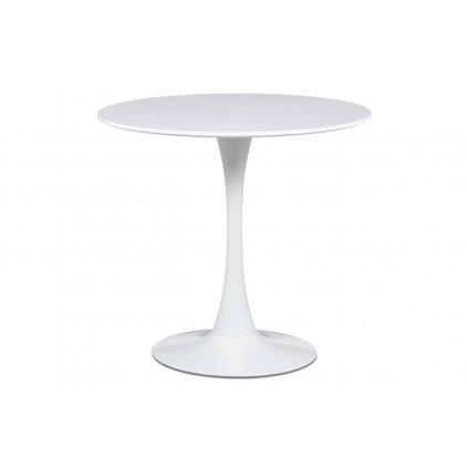 Jedálenský stôl pr.80x73 cm, biela matná MDF, kov biely vysoký lesk