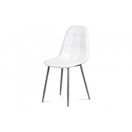 Jedálenská stolička, biela ekokoža, kov antracit