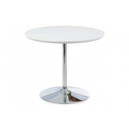 Jedálenský stôl pr. 90 cm, vys. lesk biely / chróm