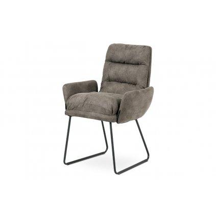 Jedálenská stolička, hnedá látka, kov šedá mat