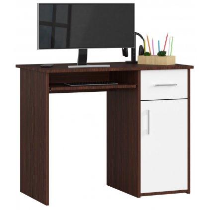 141790 Písací stolík komputerowe pin wenge biale wolnostojace
