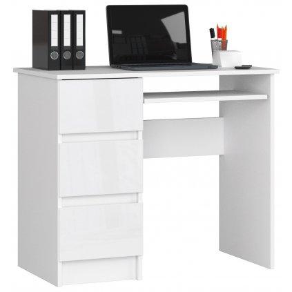 141922 Písací stolík komputerowe a 6 biale bialy polysk ľavá