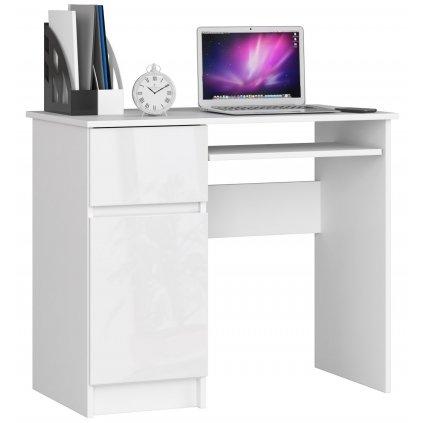142291 Písací stolík komputerowe piksel biale bialy polysk ľavá