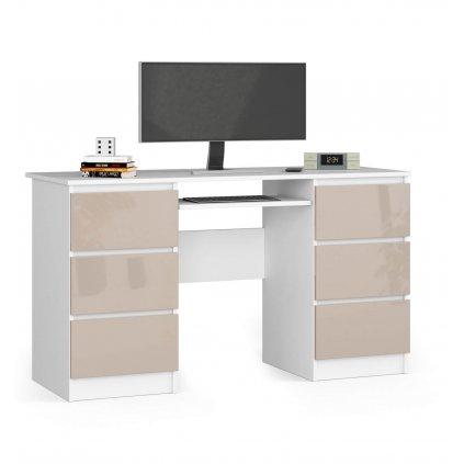 142414 Písací stolík z zásuvkami 135 cm a11 biale cappuccino polysk