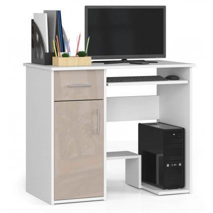 142426 Písací stolík komputerowe 90 cm jay biale cappuccino polysk 1 zásuvka 1 Dvere