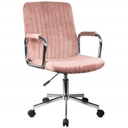 142510 krzeslo welurowe obrotowe fd 24 rozowe
