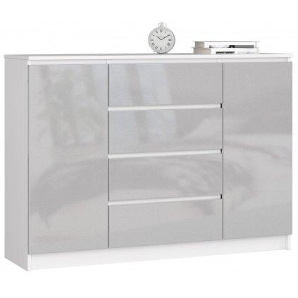 143284 Komoda k140 2 Dvere 4 zásuvky akryl kovový vysoký polysk
