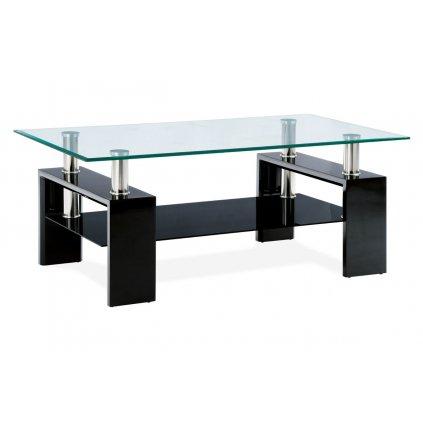 Konferenčný stolík 110x60x45 cm, čierny lesk / číre sklo 8 mm