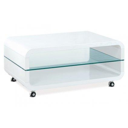 (AHG-011 WT) Konferenčný stolík 90x60x40, MDF biely vysoký lesk, číre sklo, 4 kolieska