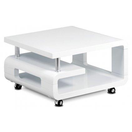 Konferenčný stolík 70x70x43, biela MDF vysoký lesk, chróm, 4 kolieska