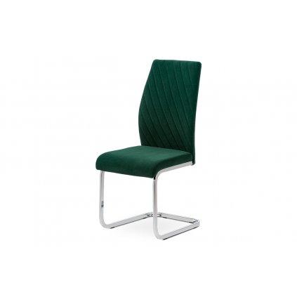 Jedálenská stolička, zelená zamatová látka, kovová pohupovať chrómovaná podnož