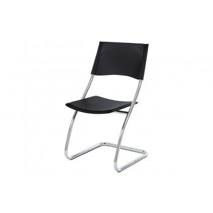 Stolička chróm / čierna koženka