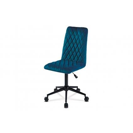 Kancelárska stolička detská, poťah modrá zamatová látka, výškovo nastaviteľná, čierny kovový kríž