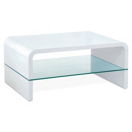 (AHG-010 WT) Konferenčný stolík 90x60x40cm, MDF biely vysoký lesk, číre sklo