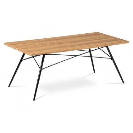 Konferenčný stolík 122x61x49, MDF dub, kov čierny mat