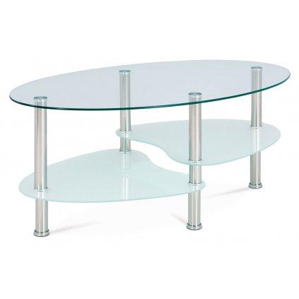 Konferenčný stolík, číre sklo / mliečne sklo / leštený nerez
