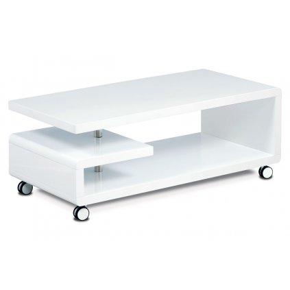 Konferenčný stolík 115x60x45, biela MDF vysoký lesk, chróm, 4 kolieska