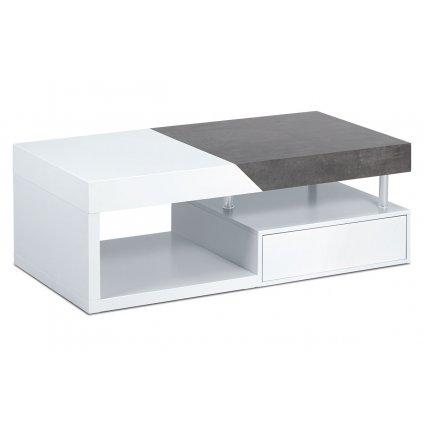 Konferenčný stolík 120x60x42, MDF biely mat / dekor betón, 2 šuplíky