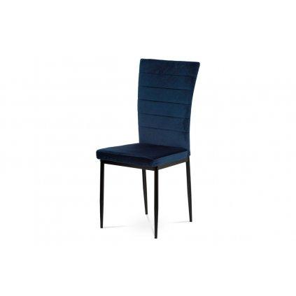 Jedálenská stolička, modrá látka zamat, kov čierny mat