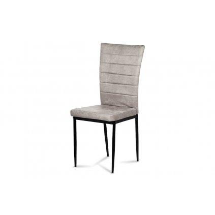Jedálenská stolička, čierna látka imitácia brúsenej kože, kov čierny mat