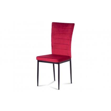 Jedálenská stolička, červená látka zamat, kov čierny mat