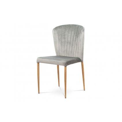 Jedálenská stolička, strieborná zamatová látka, kovová podnož, 3D dekor dub