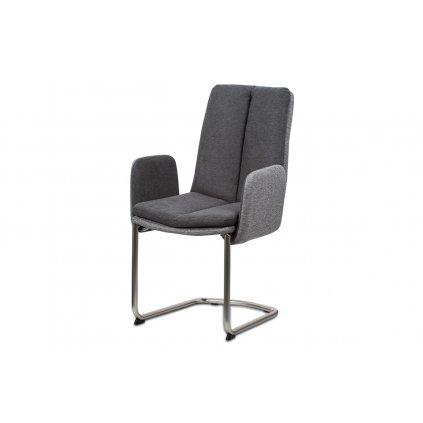 Jedálenská stolička, látka svetlo / tmavo šedá, kovová pohupovať podnož, brúsený nikel