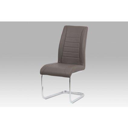 Jedálenská stolička - cappuccino ekokoža, kovová chrómovaná podnož