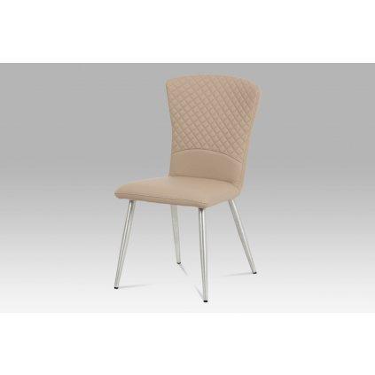 Jedálenská stolička koženka cappuccino / brúsený nerez