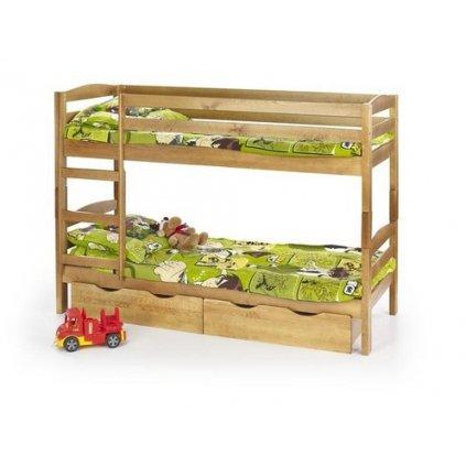 Detská poschodová posteľ:   SAM s matracom (borovica)