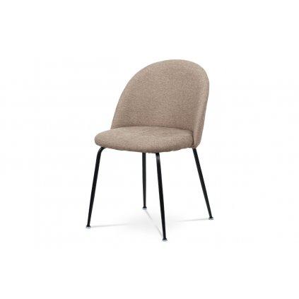 Jedálenská stolička, cappuccino látka, kovová štvornohá podnož, čierny matný lak