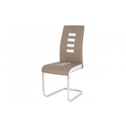 Jedálenská stolička ekokoža cappucino / biela, chróm