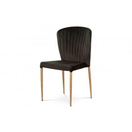 Jedálenská stolička, sivá zamatová látka, kovová podnož, 3D dekor dub