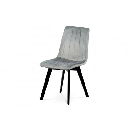Jedálenská stolička, strieborná zamatová látka, masívne bukové nohy, čierny matný lak