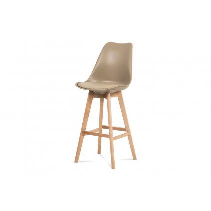 Barová stolička, cappuccino plast + ekokoža, nohy masív buk
