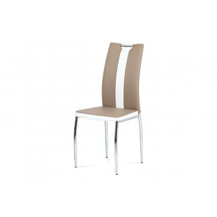 Jedálenská stolička koženka cappuccino + biela / chróm