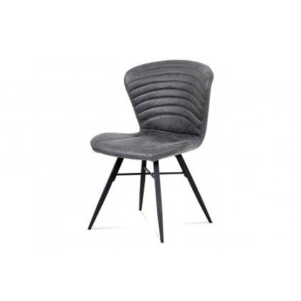 Jedálenská stolička, sivá látka vintage, kov čierny mat