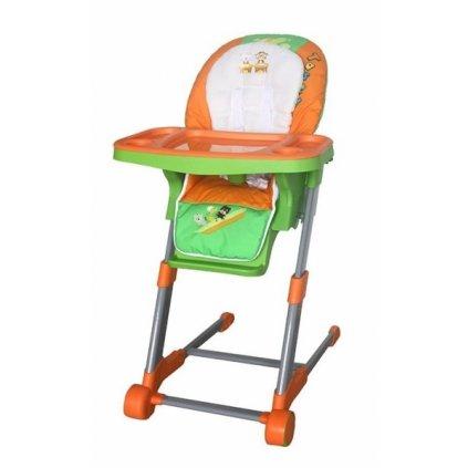 Detská multifunkčná jedálenská stolička Euro Baby - oranžová, zelená, K19