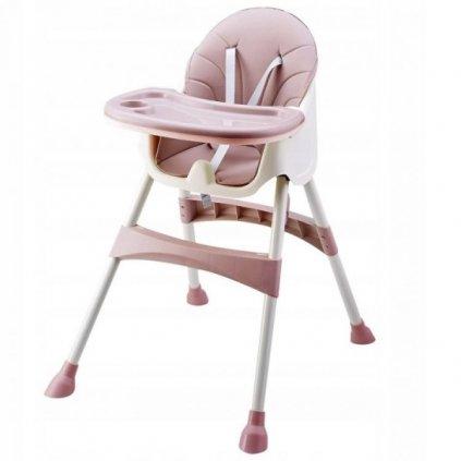 Eco toys Jedálenský stolička, stolček 2v1 - ružová