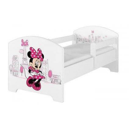 Babyboo Detská posteľ 140 x 70 cm Disney - Minnie Paris, biela - vrátane šuplíku