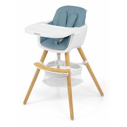 Milly Mally Luxusné jedálenský stolček, kresielko Espoo 2v1. modrá